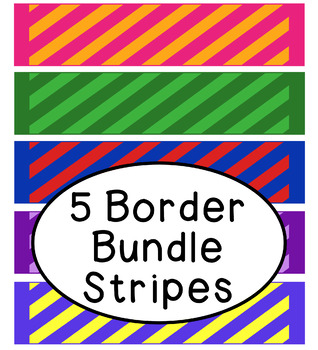Bright Stripes Bulletin Board Border Printable Bundle Pack of 5