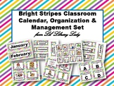 *Editable* Bright Stripes Classroom Calendar, Organization & Calendar Set