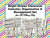 *Editable* Bright Stripes Classroom Calendar, Organization