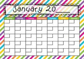 Bright Stripes Calendar Teaching Time, Days, Weeks, Months, Years