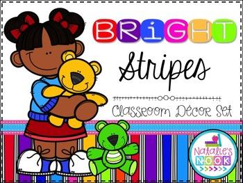 Bright Stripes Classroom Decor Pack (Editable)