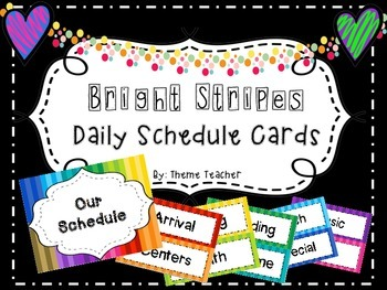Bright Stripes Daily Schedule Cards
