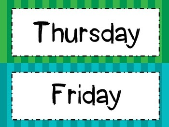 Bright Stripes Days of the Week