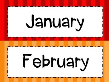 Bright Stripes Months of the Year