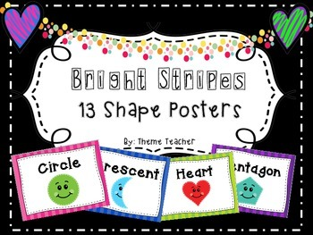 Bright Stripes Shape Posters