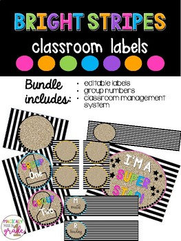 Bright Stripes Student Labels