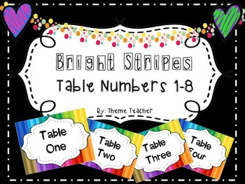 Bright Stripes Table Numbers