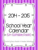 Bright Stripes Teacher Calendar for 2014-2015 {Un-Editable}