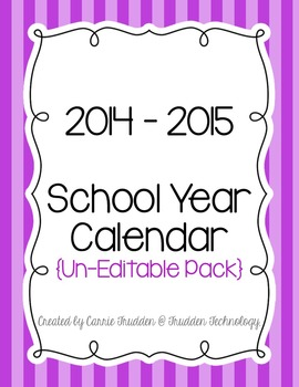 Bright Stripes Teacher Calendar for 2014-2015 {Un-Editable}