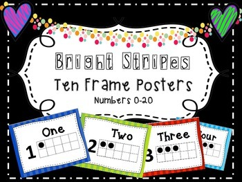 Bright Stripes Ten Frame Posters