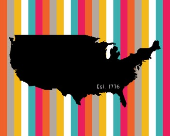 United States Map Poster Class Decor, Classroom Decoration, Bright Stripes