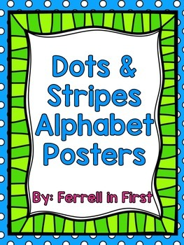 Bright Stripes and Dots Alphabet Posters