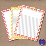Bright Summer Chevron Lined Writing Paper for Writers Workshop, Bulletins & More