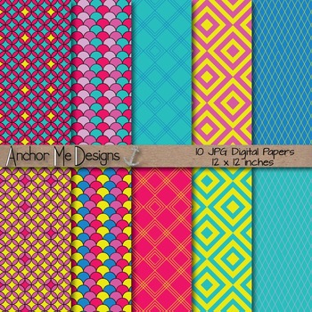 Neon Summer Chevron, Polka Dot & Striped Papers for Backgr