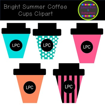 Bright Summer Coffee Cups Clipart