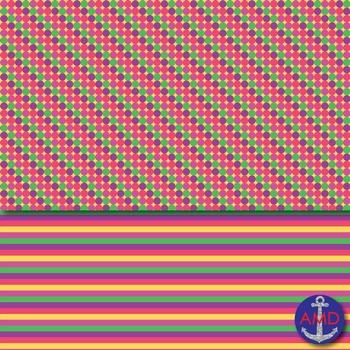 Bright Summer Polka Dot & Matching Stripes for Bulletins, Backgrounds & More