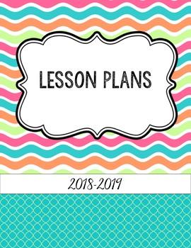 Bright Summer Waves Editable Teacher Binder / Lesson Planner  2018-19