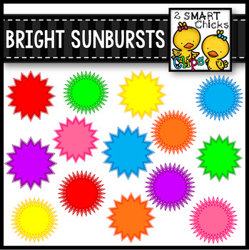 Bright Sunbursts Clip Art Mega Bundle FREEBIE