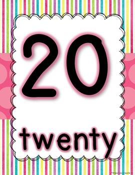 Bright Sweet Polka Dot Number Signs 0-20
