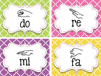 Bright Swirls Curwen Hand Signs {Kodaly} Posters and Word Wall Cards