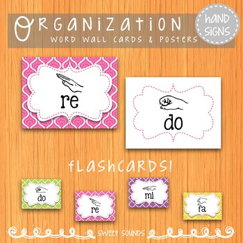 Bright Swirls Curwen Solfege Hand Sign Posters and Word Wall Cards