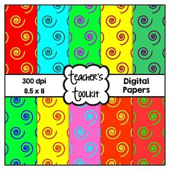 Bright Swirls Digital Papers {8.5 x 11} Clip Art CU OK