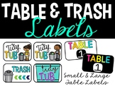 Bright Table Labels and Tidy Table Label - Trash bin Label