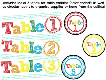 Bright Table Labels/ Classroom Decor (use on a caddy, bin, supplies, etc!)
