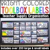Bright Teacher Toolbox Labels (Editable)