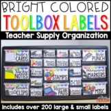 Bright Teacher Toolbox Labels (Editable Template Included)