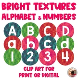 Bright Textures Letters & Numbers for Digital or Print | M