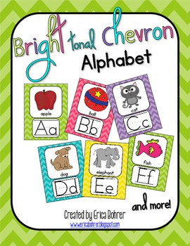 Bright Tonal Chevron Alphabet Posters