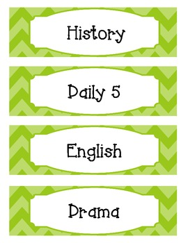 Bright Two-Tone Lime Green Chevron Schedule Cards