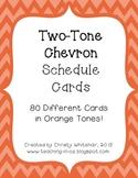 Bright Two-Tone Orange Chevron Schedule Cards