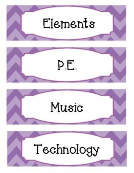 Bright Two-Tone Purple Chevron Schedule Cards
