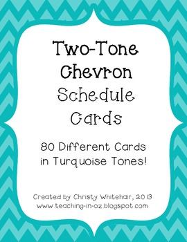 Bright Two-Tone Turquoise Chevron Schedule Cards