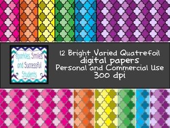 Digital Papers: Bright Varied Quatrefoil Paper Pack