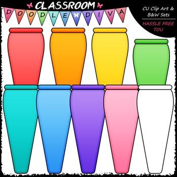 Bright Vases Clip Art - Flower Vases Clip Art & B&W Set