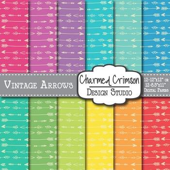 Bright Vintage Arrow Digital Paper 1456