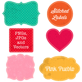 Bright Vintage Stiched Labels Clipart and Vectors