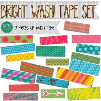 Clipart- Bright Washi Tape Set