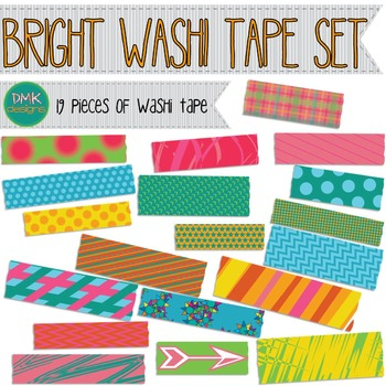 Clipart- Bright Washi Tape Set