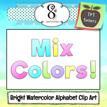 Bright Watercolor Alphabet Clip Art