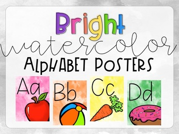 Bright Watercolor Alphabet Posters