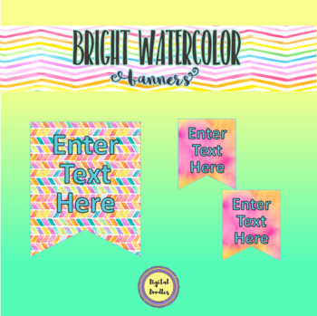 Bright Watercolor Banner Flags ~ Editable ~