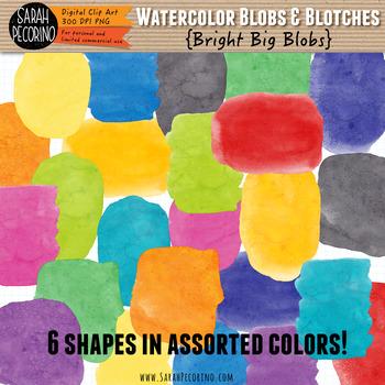 Bright Watercolor Big Blobs Clip Art