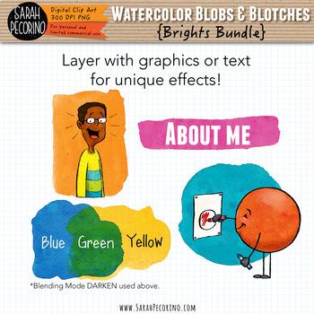 Bright Watercolor Blobs and Blotches Clip Art Bundle