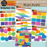 Bright Watercolor Blobs and Blotches Clip Art Bundle