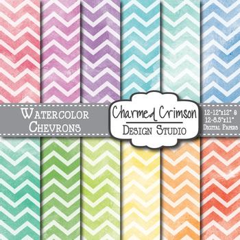 Bright Watercolor Chevron Digital Paper 1496