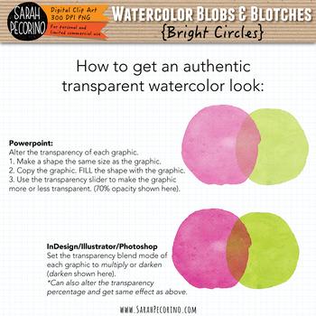 Bright Watercolor Circles Clip Art